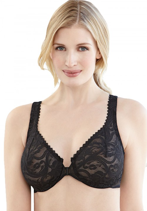 Glamorise Wonderwire Front Closing Stretch Lace Bra Black Front