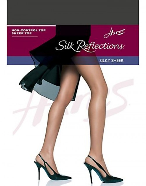 Hanes Silk Reflections Silky Sheer SF Pantyhose Barely Black