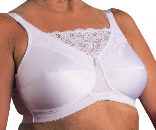 Nearly Me Lace Cami Soft Cup Mastectomy Bra White Front
