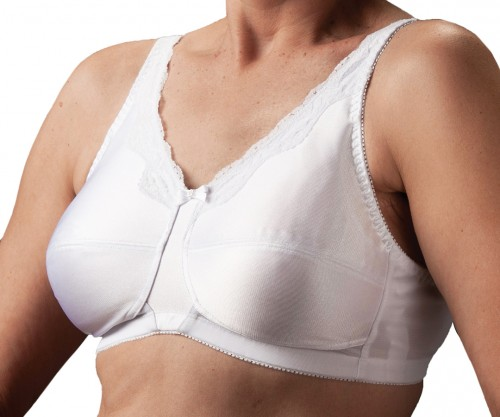 Nearly Me Lace Accent Soft Cup Mastectomy Bra White Front