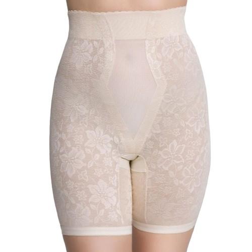 QT Intimates Lace Jacquard Long Leg Control with Powermesh Beige Front