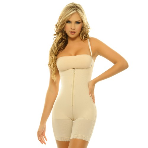 Body Line Powernet Braless Long Leg Body Briefer Nude Front