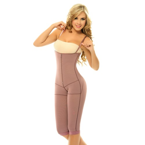 Siluet Postpartum High Compression Long Leg Full Body Shaper Purple Front