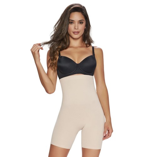 TrueShapers High-Waist Mid-Thigh Short Nude Front