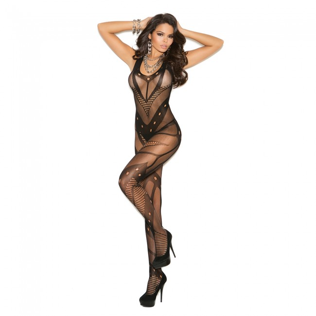 d9ce01bbb7 Elegant Moments Seamless Net Crochet Bodystocking Style 1650