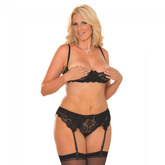 7b675613e231f Elegant Moments Plus Size Lace Shelf Bra with Garter Belt Set Black Front