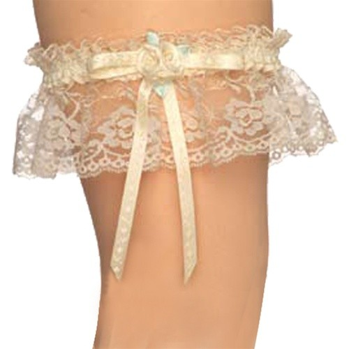 Long Wedding Garters: Aire White Lily Lace Bridal Garter Style 1964