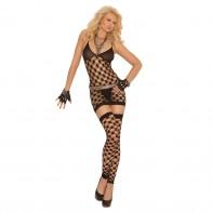 Elegant Moments Diamond Net Halter Neck Mini Dress Style 1559