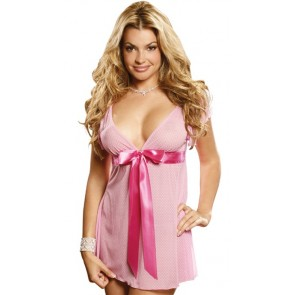 Elegant Moments Plus Size V Neck Polka-dot Babydoll Style 4443x
