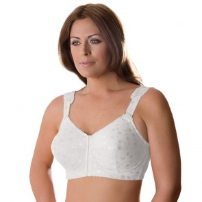 Elila Jacquard Soft Cup Bra with Front Closure White