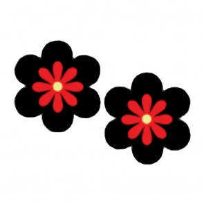 Pastease Flower Nipple Covers Black Red