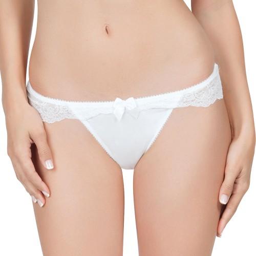 Affinitas Pearl Brazilian Thong Panty Ivory Front