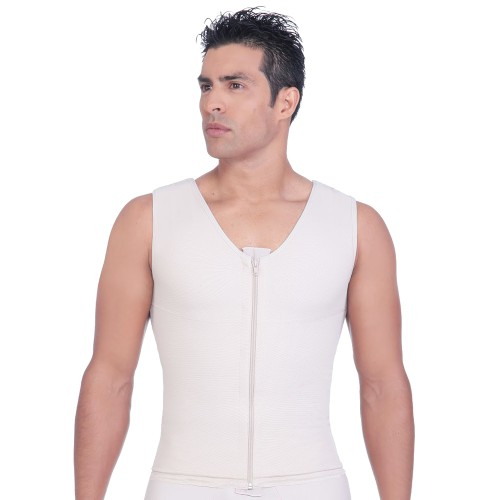 Annette Post Surgery Men's Vest Beige Front