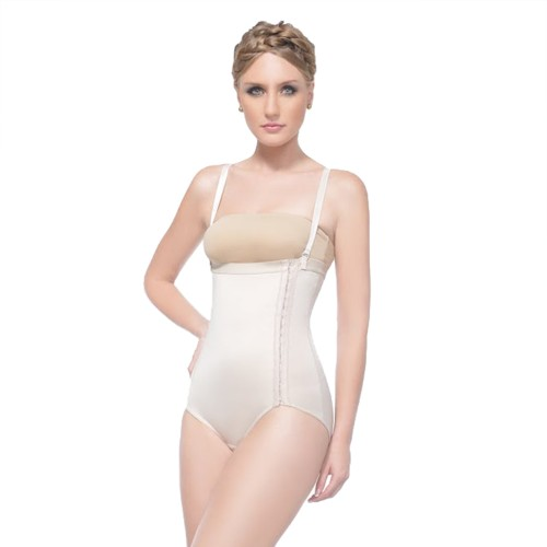 Annette High Waist Girdle - Multi Adjustment Side Closure Beige Front