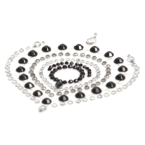 Bijoux Indiscrets Flamboyant Black and Silver Crystal Nipple Pasties Style 57705