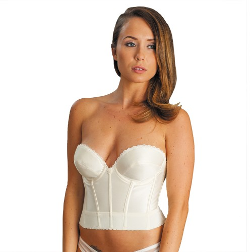 Carnival Satin Low Plunge Longline Bra Ivory Front