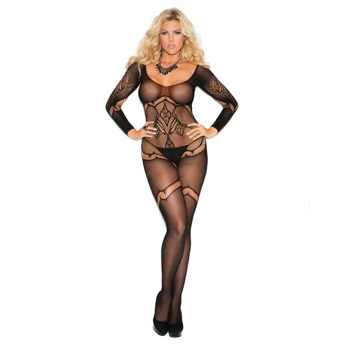 Elegant Moments Plus Size Long Sleeve Crochet Bodystocking Front