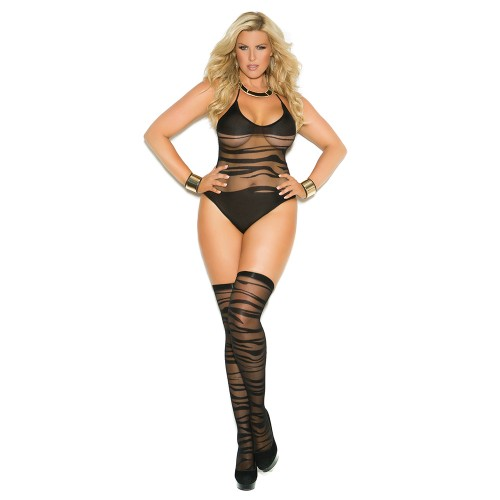 Elegant Moments Plus Size Wave Pattern Crotchless Teddy Front