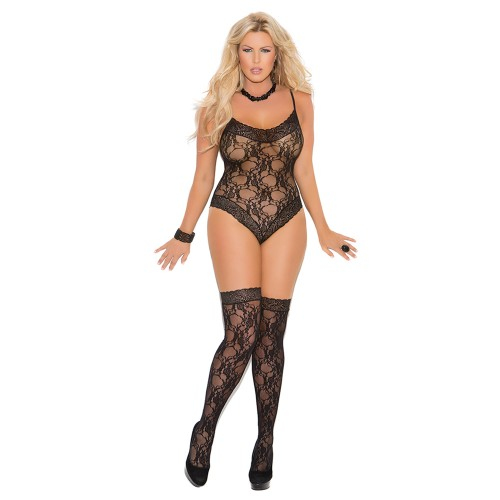 Elegant Moments Plus Size Lace Teddy Front