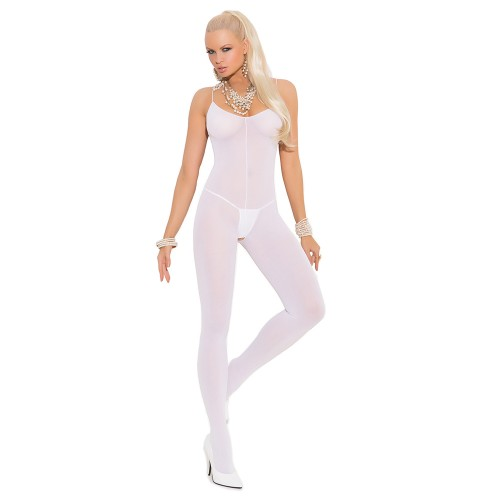 Elegant Moments Opaque Spaghetti Strap Bodystocking White Front