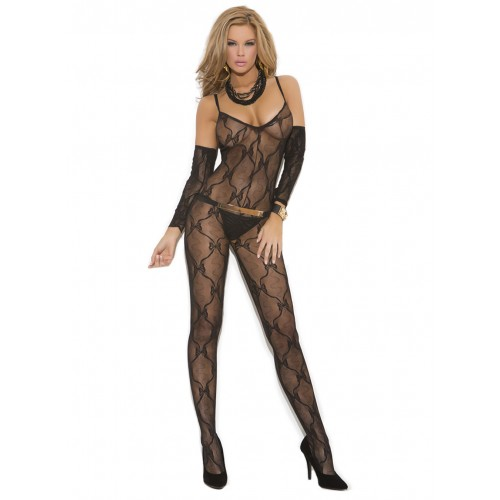 Elegant Moments Bow Tie Lace Sleeve Bodystocking Front