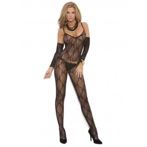 Elegant Moments Plus Size Bow Tie Lace Sleeve Bodystocking
