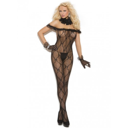 Elegant Moments Plus Size Ruffle Top Bodystocking