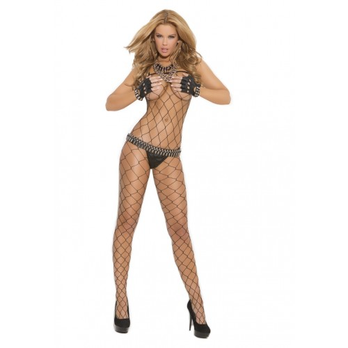 Elegant Moments Plus Size Seamless Big Diamond Net Bodystocking