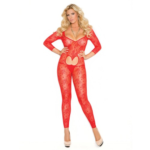 Elegant Moments Plus Size Long Sleeve Footless Lace Bodystocking Front