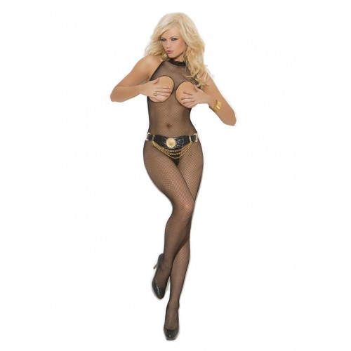 Elegant Moments Plus Size Seamless Fishnet Open Bust Halter Bodystocking