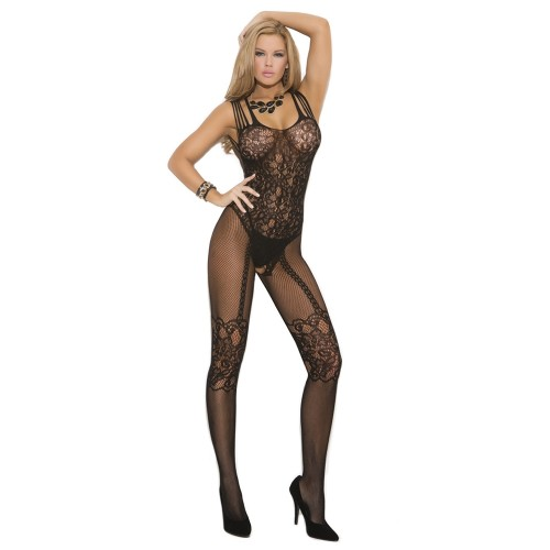 Elegant Moments Fishnet and Lace Open Crotch Bodystocking Black Front
