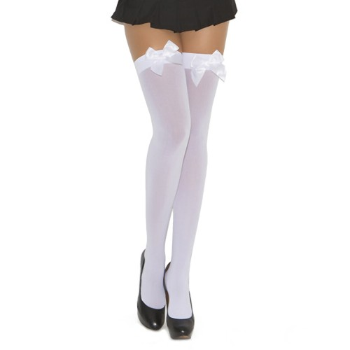 Elegant Moments Opaque Bow Thigh Highs White Front