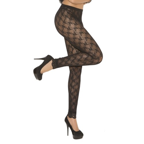 Elegant Moments Bow Lace Mid Calf Leggings Black Front