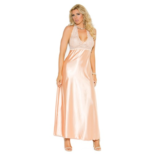 Elegant Moments Plus Size Lace and Charmeuse Halter Neck Nightgown Front