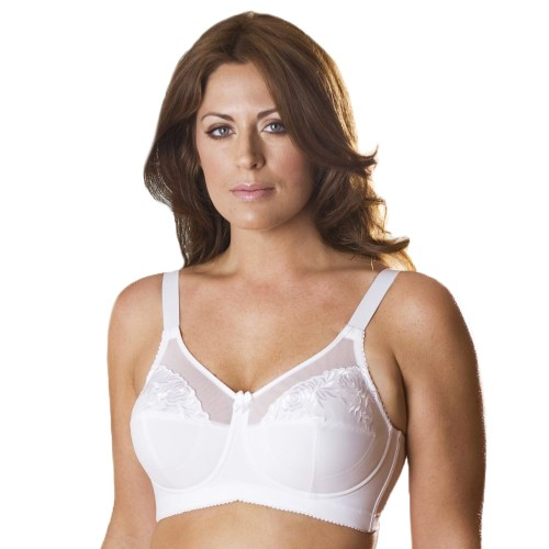 Elila Embroidered Microfiber Soft Cup Bra White Front