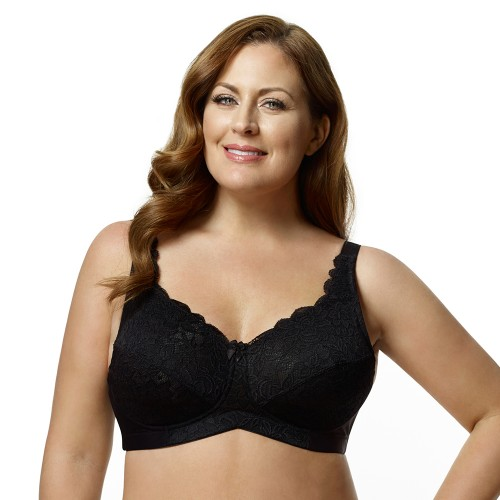 Elila Jacquard Fashion Softcup Bra Black Front
