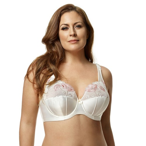 Elila Glamour Embroidered Underwire Antique White Bra Front
