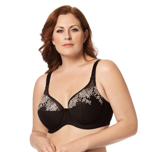 Elila Embroidered microfiber Underwire Bra Black Front