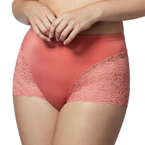 Elila Cheeky Stretch Lace Pantie Coral Front