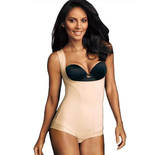 Flexees by Maidenform Wear Your Own Bra Romper Body Beige Front