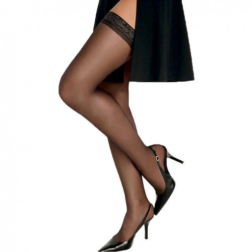 Hanes Silk Reflections Silky Sheer Thigh High Barely Black