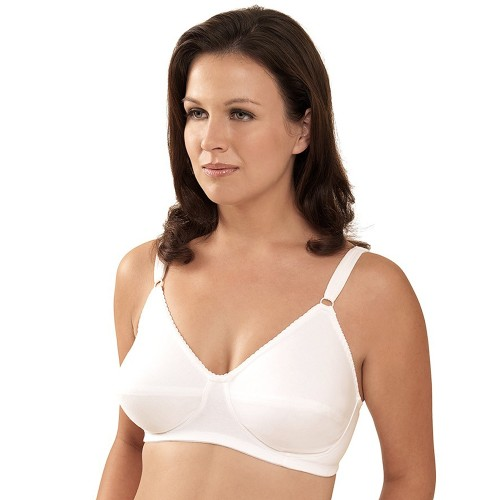 Leading Lady Full Figure Cotton Soft Cup Bra White Front