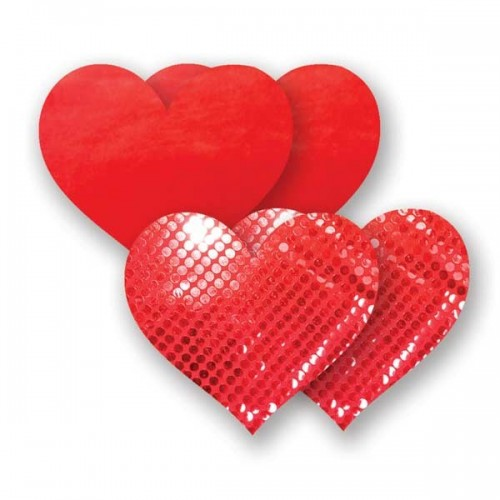 Bristols 6 Nippies Red Heart Nipple Pasties