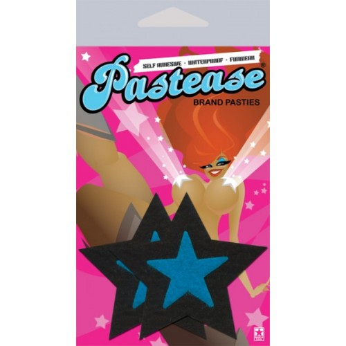 Pastease Rockstar Black With Turquoise Star Nipple Covers