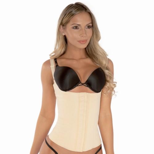 Pink Shaper Latex Vest Waist Cincher Beige Front