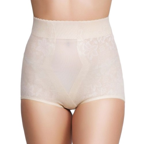 QT Intimates Lace Jacquard Control Brief with Powermesh Beige Front
