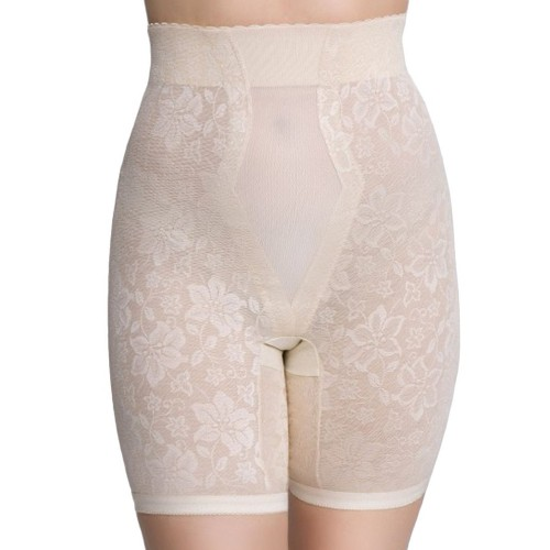 QT Intimates Lace Jacquard Long Leg Control with Powermesh Beige Front