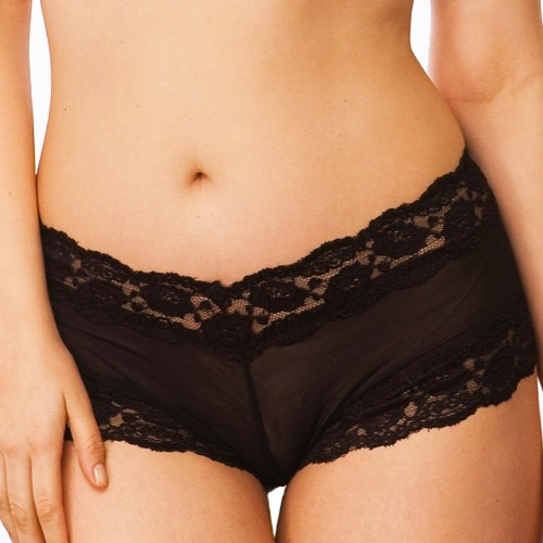QT Intimates Kelly Lace and Mesh Boyleg Black Front