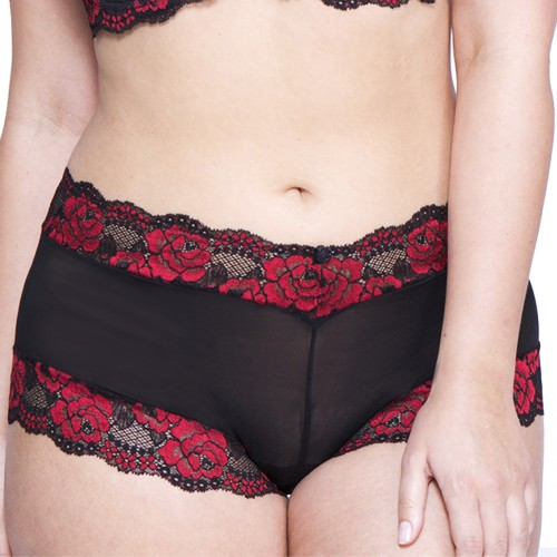 QT Intimates Rose Lace and Mesh Boyleg Black Red Front