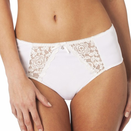 QT Intimates Lace and Micro Panty Ivory Front